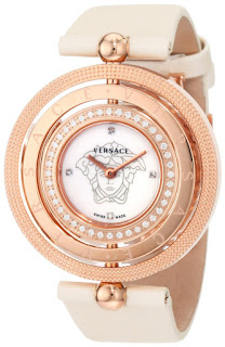 Luxury Versace Women's 80Q81SD497 S002 Eon Three Rings Rose-Gold Plated 40-Diamond Mother-Of-Pearl Satin